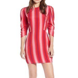 NEW SOMETHING NAVY RED GOJI BOLD STRIPE MINI DRESS